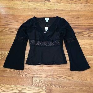 NWT Pretty Ann Taylor Loft Black Blouse w/Lace